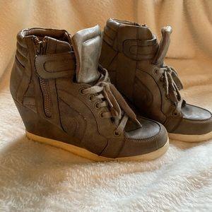 Candies gray sneakers/wedges